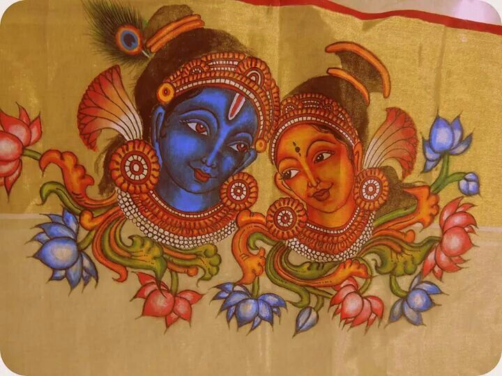 17 best images about kerala mural painted sarees on for Mural radha krishna