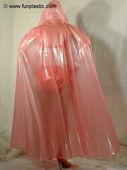 Clear pink plastic   Raincapes, Rainponcho's,...