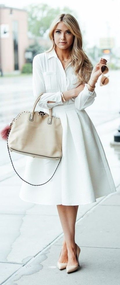 Women's fashion | White blouse with midi skirt and neutral pumps