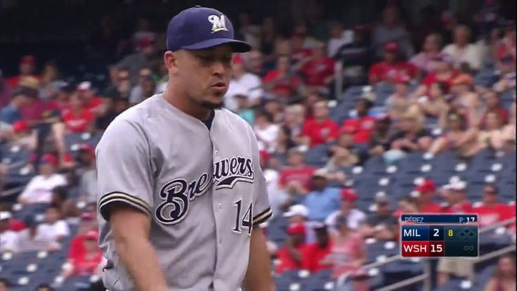 Brewers utility man Hernan Perez gets Pedro Severino to fly out to close out a scoreless inning