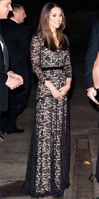 DECEMBER 11, 2013 The Duchess of Cambridge wore this Temperley London gown for the third time at a screening of David Attenborough's Natural History Museum Alive 3D in London.