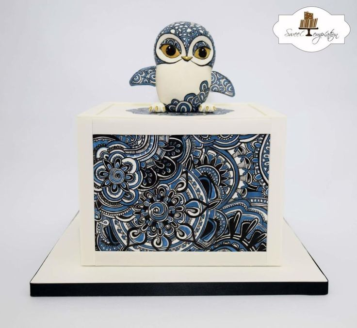 Zentangle Owl Cake - Cake by Urszula Landowska - CakesDecor