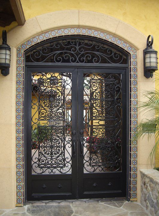 Fabulous Spanish style courtyard double security gate with ...