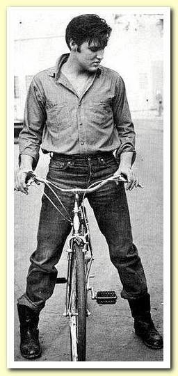 Elvis Op/met een fiets, bij ons in NL.een dood normaal iets,het verbaasde mij alleen dat ik Elvis met een fiets zag,leuk gezicht .......lbxxx.