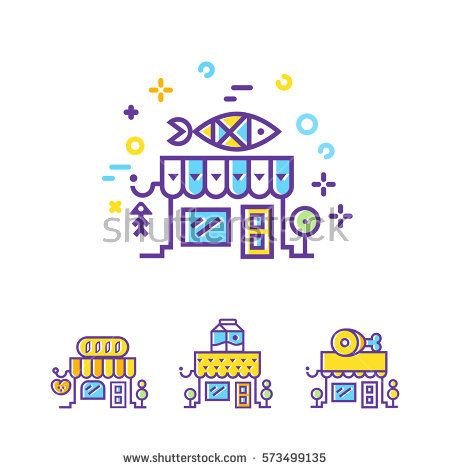 Seafood  Shop building line icons. Set of city Shop and store buildings. Flat isolated vector illustration on white background. Linear stokes and fills.