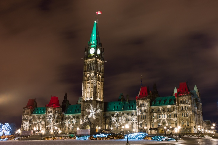 Parliament Hill @ Christmas, Ottawa. Love the Christmas lights all around downtown Ottawa!