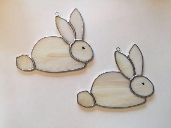 Handmade Stained Glass Bunny Rabbit Suncatcher by QTSG on Etsy