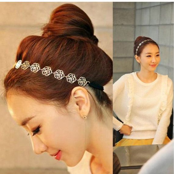 Women's Fashion Elegant Hollow out Rose Camellia by GlamStore #headband #knit #accessories