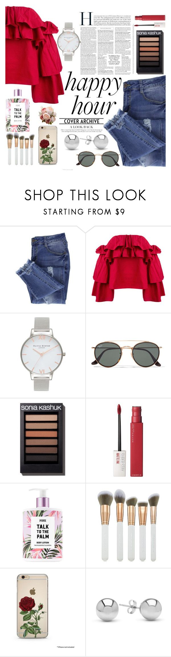 """""""Happy Hour"""" by sade-allan ❤ liked on Polyvore featuring Essie, Erika Cavallini Semi-Couture, Olivia Burton, Ray-Ban, Maybelline, Spectrum and Jewelonfire"""