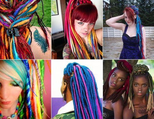 exemplo de modelo de dread de lã feminino colorido