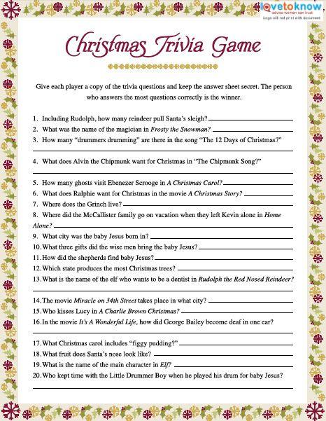 Christmas Trivia Games printable v2
