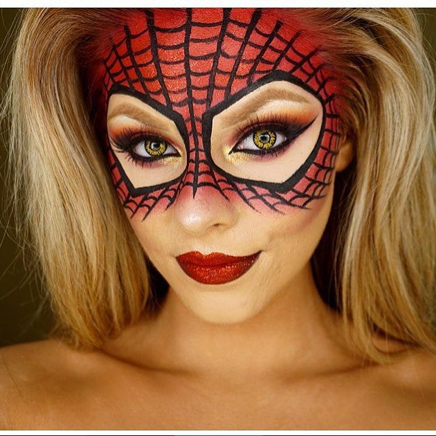 Its almost that time  spider girl Halloween makeup by @jadedeacon                                                                                                                                                                                 More