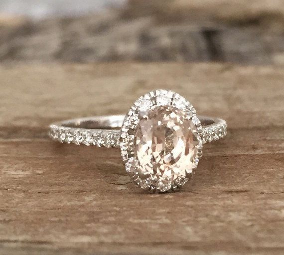 Oval Peach Champagne Sapphire Diamond Halo by Studio1040 on Etsy