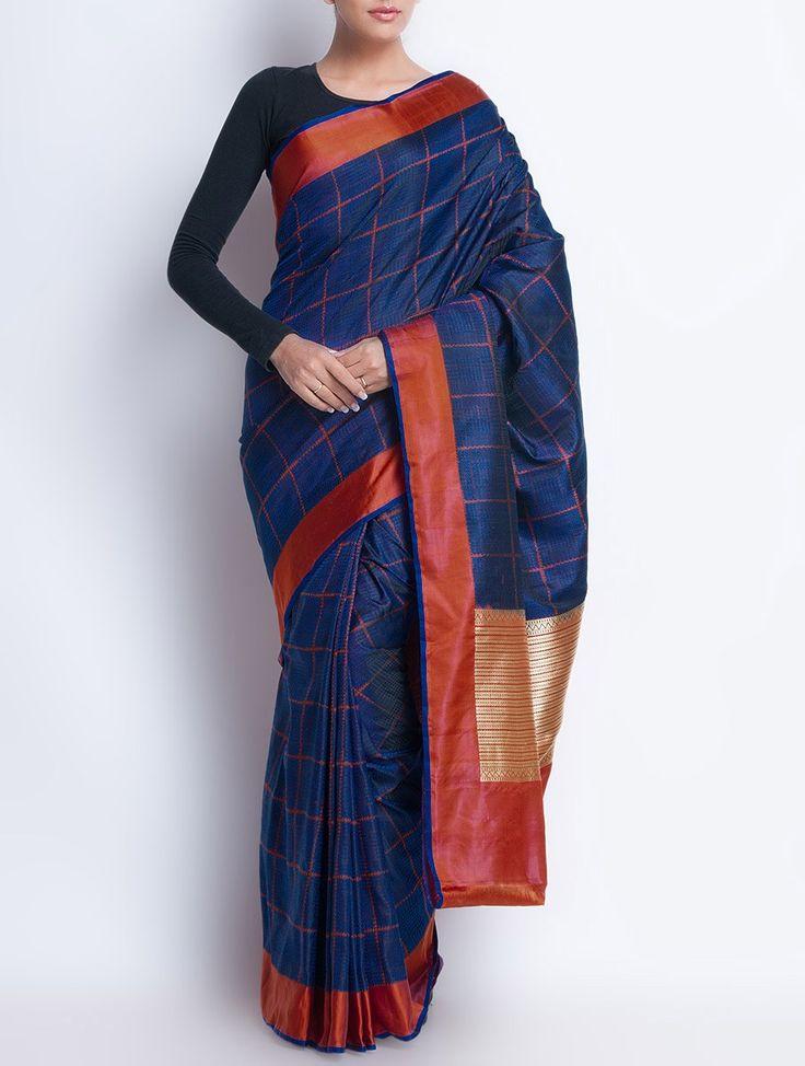 Buy Blue Red Silk Zari Handwoven Saree by Ekaya Sarees Woven Royal Benaras Benarasi Fabrics for Blouses Online at Jaypore.com