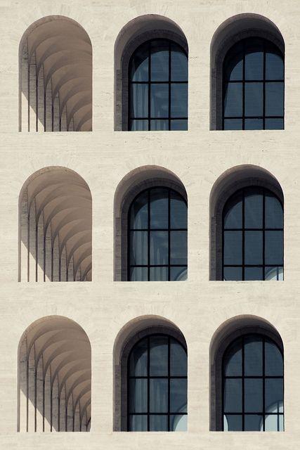 """Marcello Piacentini ''Colosseo Quadrato"""" (Square Colosseum), it is an icon of monumentalism (1943)"""