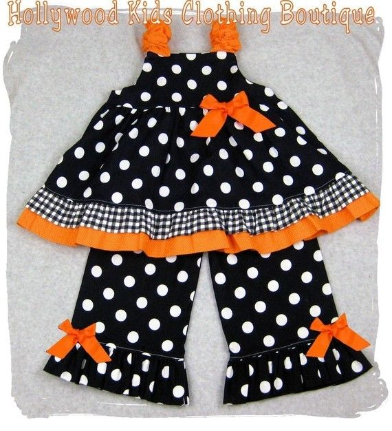 Custom Boutique Clothing Halloween Black Orange Twirl Dress Top Ruffle Pant Outfit Set 3 6 9 12 18 24 month size 2T 2 3T 3 4T 4 5T 5 6 7 8. $47.99, via Etsy.