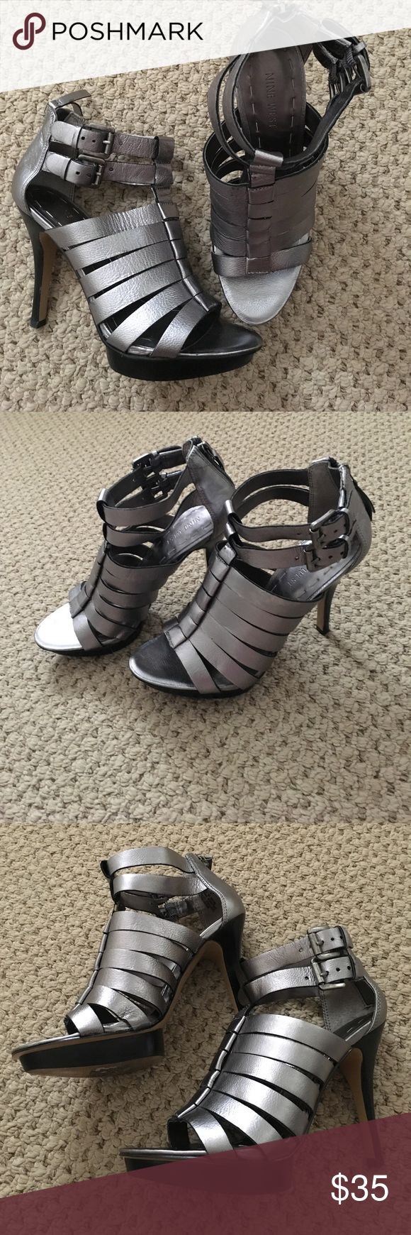 Nine West Silver Strappy Sandals Leather silver strappy platform Nine West heeled sandals. Worn once. Nine West Shoes Heels