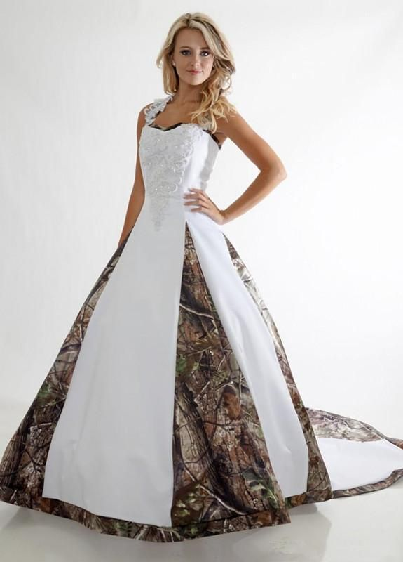 New Camo Wedding Dresses Lace Straps Backless White Camouflage Bride Dress Chapel Train Custom Made