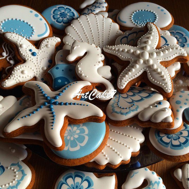 Купить В синем море... - синий, пряник, пряники, Пряники имбирные, морской стиль, морской