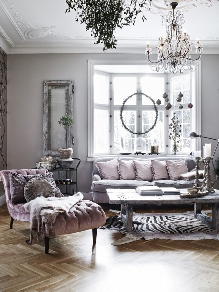 Lavender And Grey Living Room With Bay Window Tufted Chaise Lounge Chevron Parquet Wood Floors Crystal Chandelier Black White Zebra Rug