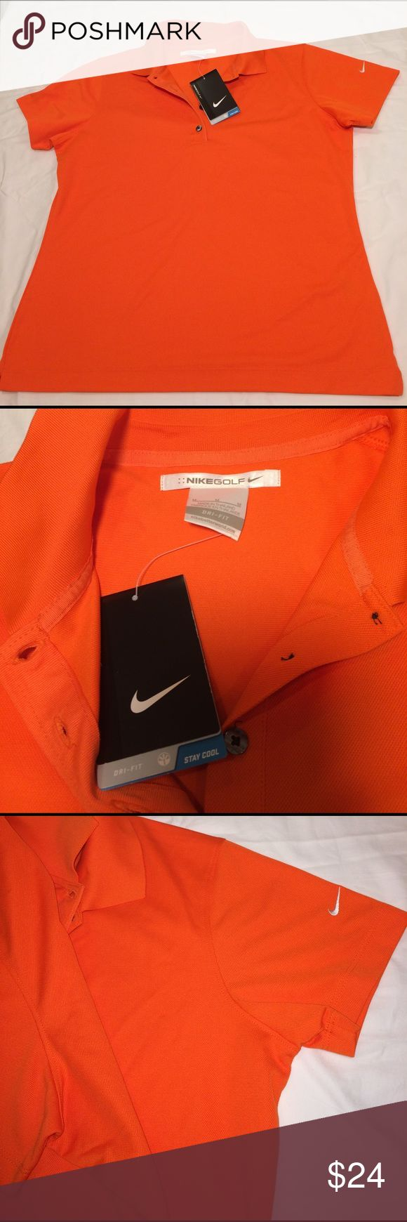 Nike Dri fit Nikegolf polo shirt stay cool NWT Brand new Nikegolf short sleeved polo shirt in a stunning orange color. 4 button closure and collar. No stains, no holes Brand new never worn Nike Tops Tees - Short Sleeve
