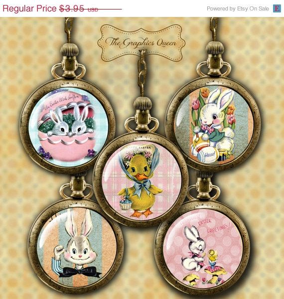 75% OFF SALE INSTANT Download-2.5 Inch Circle Easter Bunny Images Digital Images 4 Cupcake Toppers, Pocket Mirror Printable Download by TheGraphicsQueen