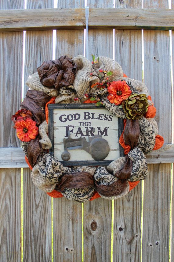 Fall Burlap Wreath for front door with God Bless by BackRoadsFaith,