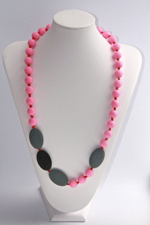 Stephanie Necklace in rose, slate and black. $35.00. Made with FDA approved non-toxic BPA free silicone beads that are soft and soothing on babys gums and new teeth. www.marliandmo.com.au