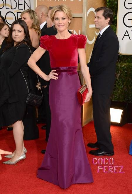#JulieBowen in a ruby and amethyst #CarolinaHerrera gown at the 71st Annual #GoldenGlobes
