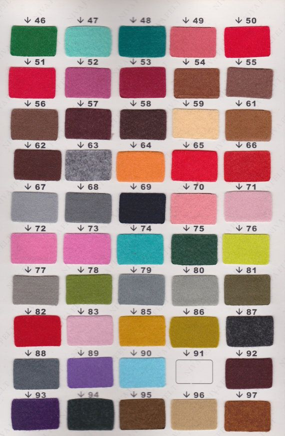 This listing is for 10 pieces 9x12 inch POLYESTER felt sheet - 140 color choices. We also offer 20 pieces package for $5.00    [About Nivas POLYESTER FELT]    ⭐︎ Width: 90cm  ⭐︎ Thickness: 1mm  ⭐︎ Specification 240 gram per square meter  ⭐︎ Color code from W, SW, 1- 138    For 1 meter: ⭐︎ Felt cut: 100 x 90cm (approx. 39 x 35 inch) https://www.etsy.com/listing/176074017/1-meter-polyester-felt    Specify color upon checkout. Niva also offers: ♥︎ 1.8mm thick Mix Velour ...