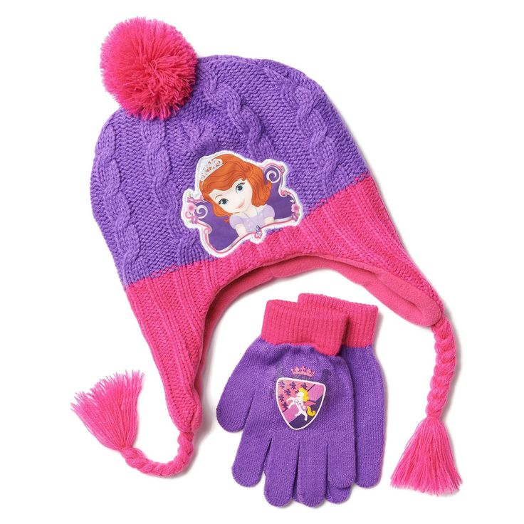 Girls Sofia the First Peruvian Style Purple & Pink Hat & Gloves Set - One Size. Girls purple and pink Peruvian style hat and stretch gloves set. Sofia the First graphic on hat and gloves. Hat is adorned with pom pom and braided tassels, measures about 9 inches wide at the opening. Stretch gloves are 6.5 inches from wrist to tip of middle finger. Lining: 100% polyester; Knit: 100% acrylic, hand wash cold.
