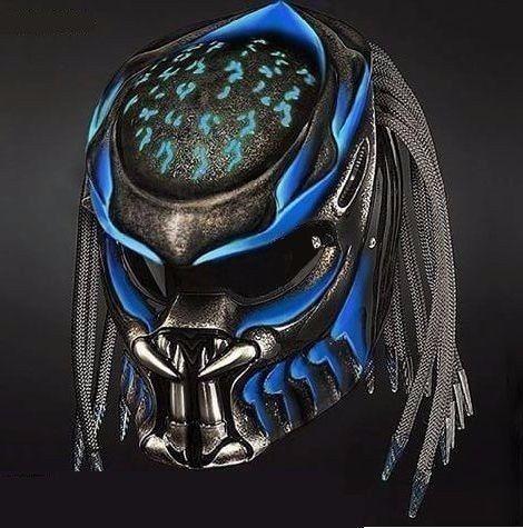 THE BLUE AQUA PREDATOR HELMET GLOSSY DOT APPROVED #Unbranded #Predator