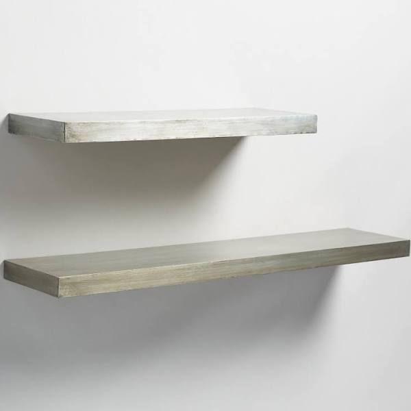 Antique Zinc Floating Ledge Wall Shelf Gray Silver 24 By World Market La Casa Wood Floating Shelves Glass Shelves Shelves
