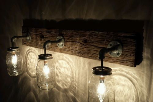 Shabby Chic Rustic Barn Wood Mason Jar Hanging Light Vanity Vintage Fixture
