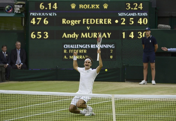 Roger Federer of Switzerland celebrates after defeating Andy Murray of Britain in their men's final tennis match at the Wimbledon Tennis Championships in London. DYLAN MARTINEZ/REUTERSWimbledon 2012, Final Tennis, Roger Federer, Tennis Championship, Rogers Federer, Wimbledon Tennis, Defeated Andy, Andy Murray, Tennis Matching