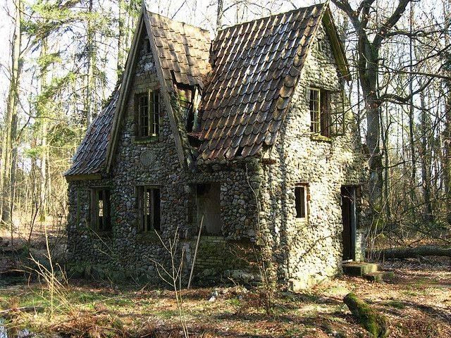 Abandoned house in a Danish forest.