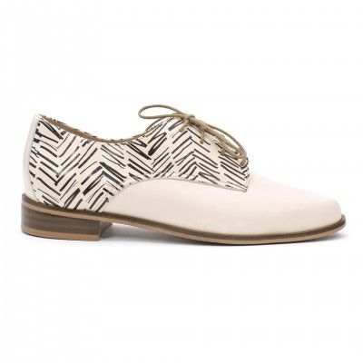 ANNA ecru chevron oxford shoes