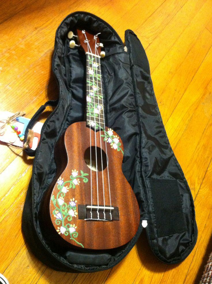 Hand painted flower design on ukulele