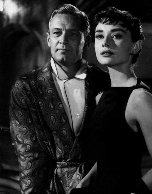 Audrey Hepburn and William Holden in Sabrina, 1954.