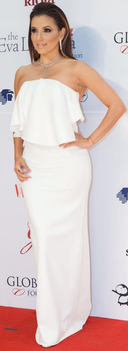 Who made  Eva Longoria's strapless white gown and jewelry?