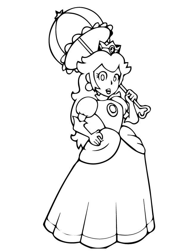 Princess Peach Coloring Pages With Umbrella Spider Coloring Page Princess Drawings Easy Drawings