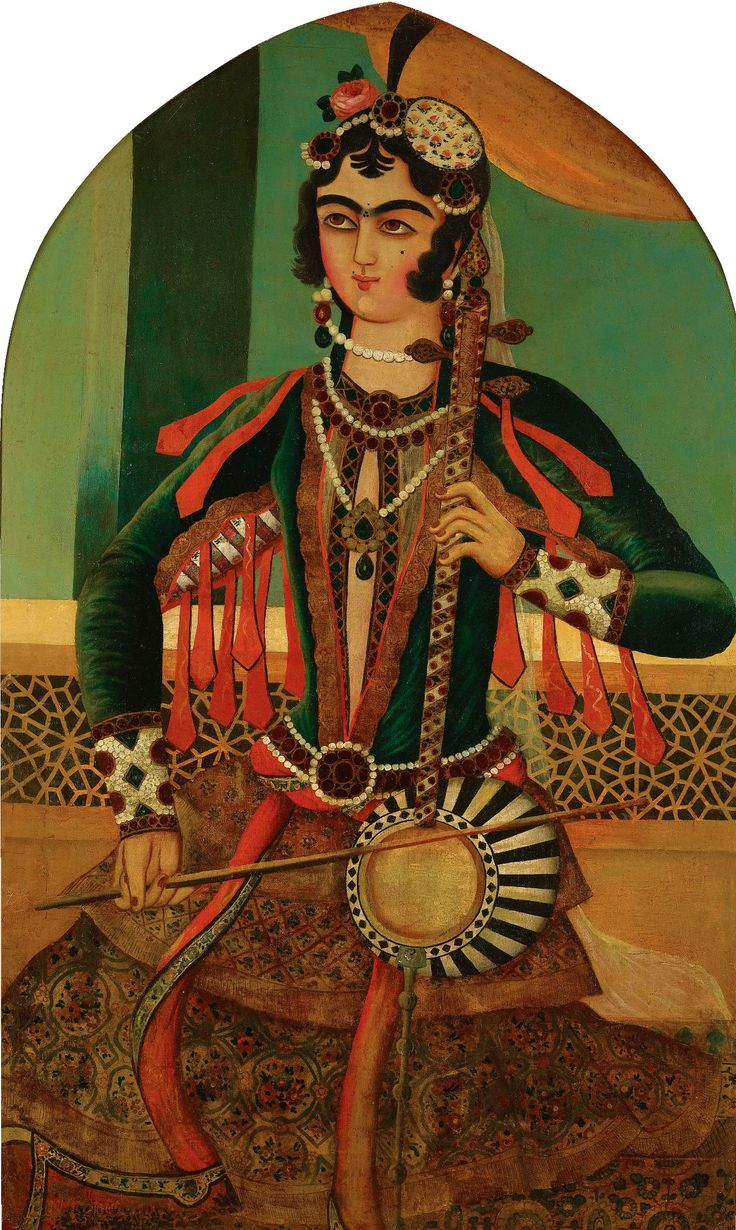A portrait of a Musician, Persia, Qajar, 19th century  Oil on canvas, framed  133 by 84cm.