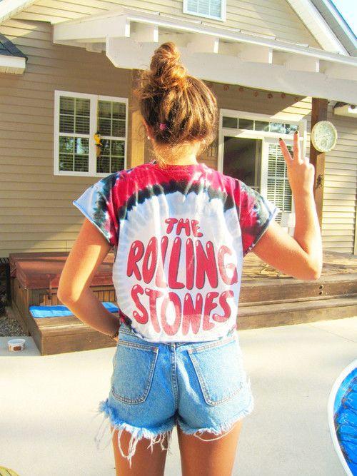 tye-dye band tee, rolling stones tee