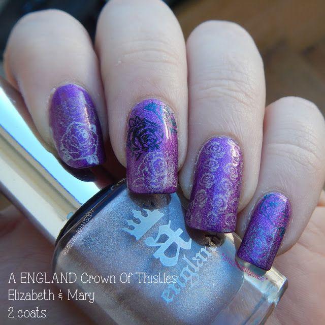 Roses stamping nail art