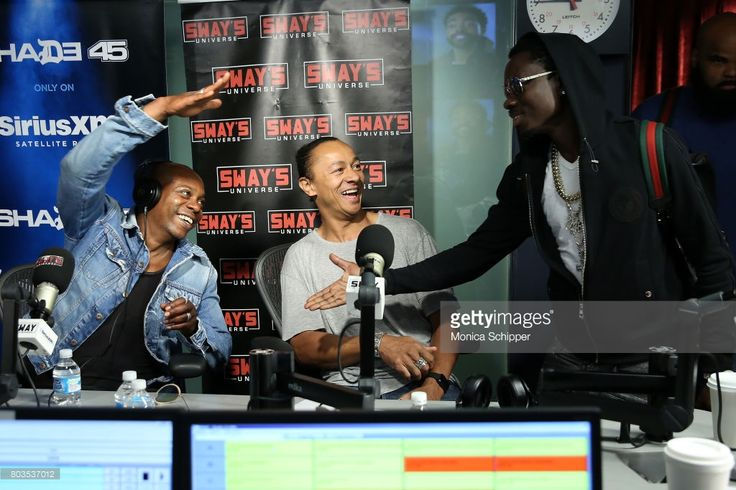 Comedians Dave Chappelle (L) and Michael Blackson (R) visit 'Sway in the Morning' with Sway Calloway on Eminem's Shade 45 at SiriusXM Studio on June 29, 2017 in New York City.