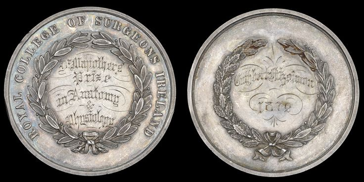 Royal College of Surgeons Ireland, Dr Mapother's Silver Prize Medal for Anatomy and Physiology, legend in and around wreath, rev. named (Cuthbert Fitzsimon, 1872), 51mm. Very fine