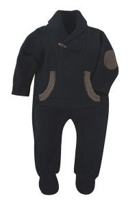 andy and evan navy sweater knit heather rompers 4