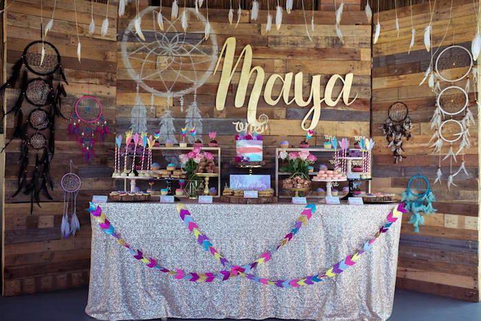 Dessert Table from a Teepee Boho 1st Birthday Party via Kara's Party Ideas | KarasPartyIdeas.com (5)