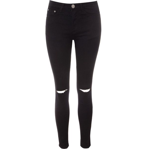 Black Ripped Knee Skinny Jeans (132.035 COP) ❤ liked on Polyvore