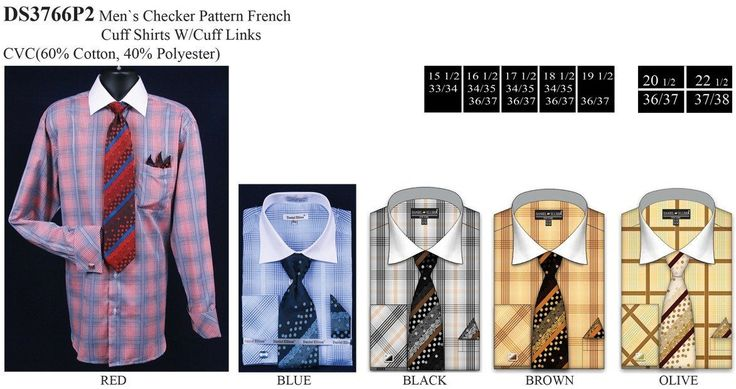 Men's Large Checkered Dress Shirts with Tie, Hanky, Cufflinks